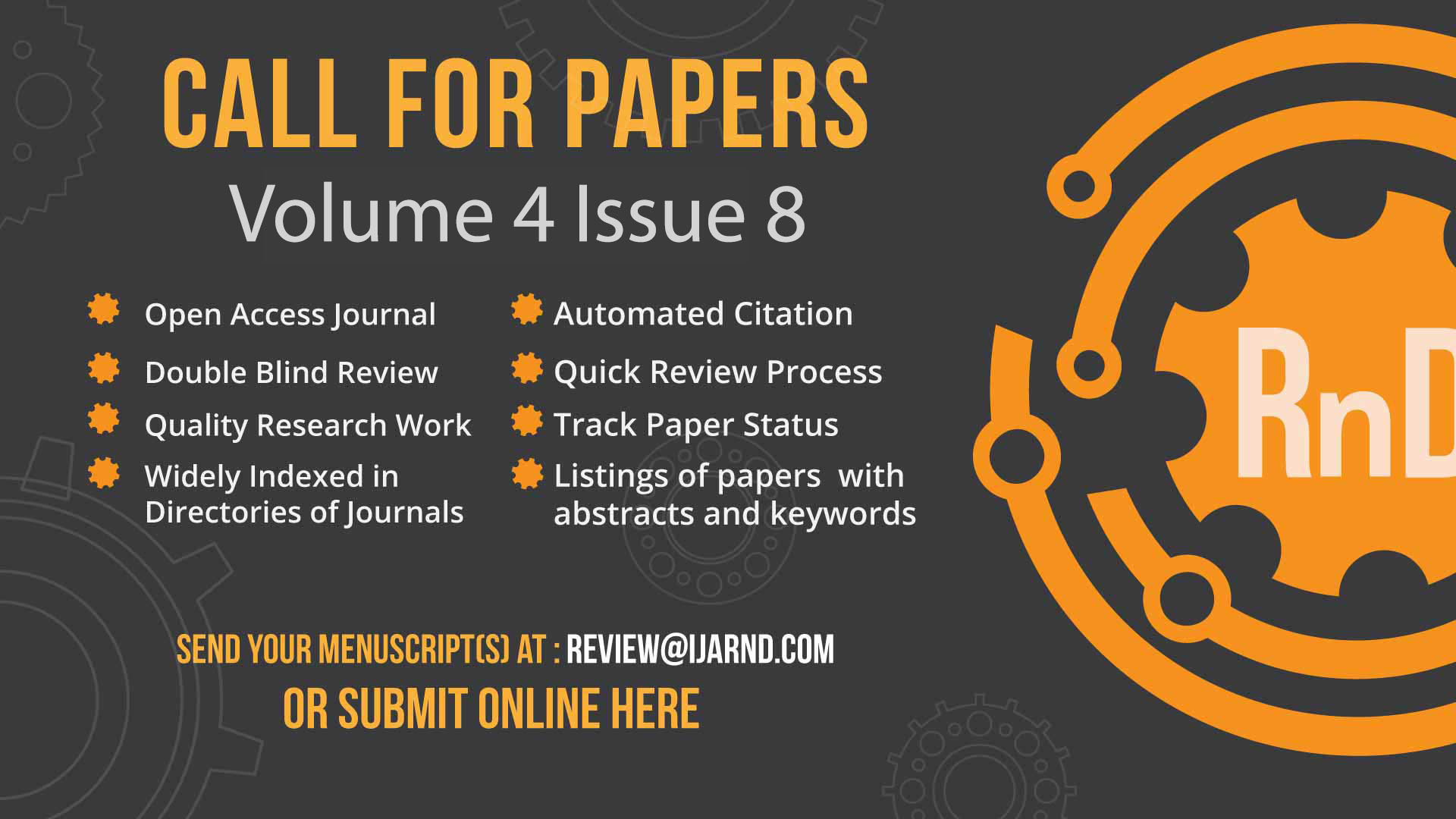 Call For Research Papers Publishing: Volume 3 Issue 9 | September
